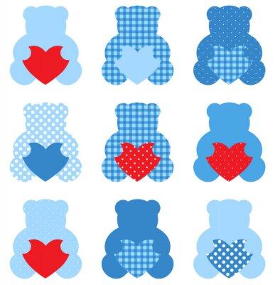 Adesivo Urso de peluche bonito com corações ajustaram-se isolado no branco (azul e vermelho)