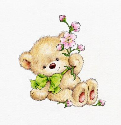 Adesivo Urso de peluche bonito com flores