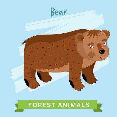 Adesivo Urso raster. Animais selvagens e da floresta. Ilustração dos personagens de banda desenhada. Animal engraçado.