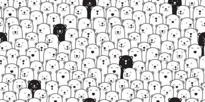 Adesivo Urso sem costura padrão vector urso polar raça cachecol isolado dos desenhos animados ilustração telha fundo repetir papel de parede doodle