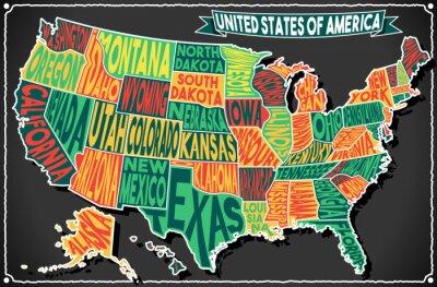 Adesivo USA Map Vintage Blackboard 2D