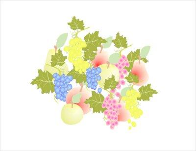Adesivo Uvas, maçã, fruta, Outono,