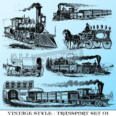 Adesivo várias ilustrações de estilo vintage - antigo conjunto de transporte