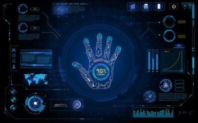 Adesivo Varredura de mão futurista identificar com hud elemento interface tela monitor design fundo modelo