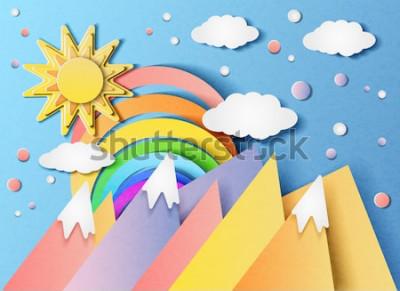 Adesivo Vector a ilustração de uma paisagem bonita com o sol, o arco-íris, as nuvens e as montanhas. No estilo de papel cortado.