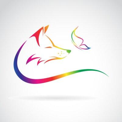 Adesivo Vector a imagem da raposa e borboleta no fundo branco