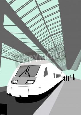 Adesivo Vector a imagem de um trem de alta velocidade moderno na estação de comboio