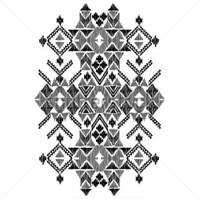 Adesivo Vector black and white decorative ethnic pattern. American indian motifs. Hand drawn background, aztec tribal ornament. Print for fashion, textile, paper and cover. Line illustration