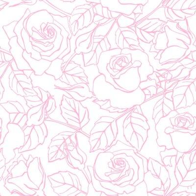 Adesivo Vector delicate line rose pattern.