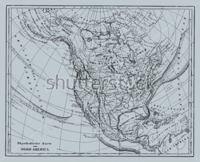 Adesivo Vector Historical map of Nord America from atlas published in 1851. Other vector maps in my portfolio.