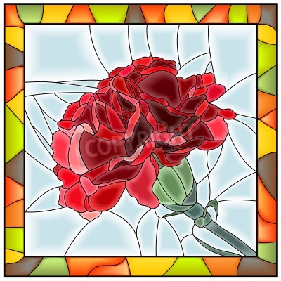 Adesivo Vector illustration of flower red carnation stained glass window with frame