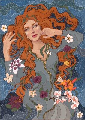 Adesivo vector menina ruiva bonita em um vestido à moda antiga, ondas do rio, água e flores
