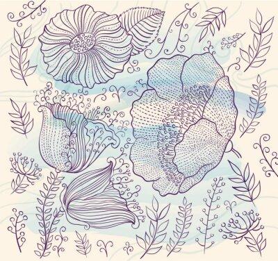 Adesivo Vector o fundo com flores bonitas e folhas