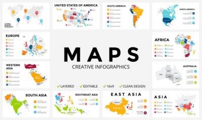 Adesivo Vector o mapa infográfico. Apresentação de slide. Conceito global do marketing do negócio. Cor país. Dados de geografia do transporte mundial. Modelo de estatística econômica. Mundo, América, África,