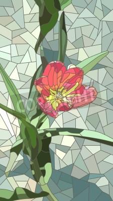Adesivo Vector o mosaico vertical com as grandes pilhas de flores vermelhas da tulipa no verde.