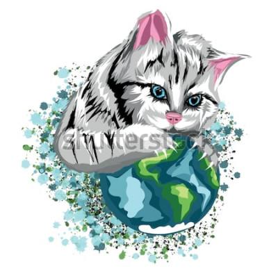 Adesivo Vector o mundo ecológico do gato com os pontos catlike do planeta e da neve, gato cinzento com olhos azuis.