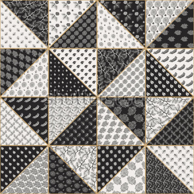 Adesivo Vector o teste padrão sem emenda abstrato dos retalhos dos triângulos bege pretos e claros com os ornamento florais laçado, as flores cor-de-rosa estilizados e as folhas. Linha fina de contorno dourad