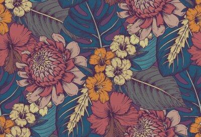 Adesivo Vector padrão sem costura com composições de flores tropicais desenhadas a mão