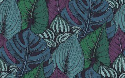 Adesivo Vector padrão sem costura com composições de plantas tropicais desenhadas a mão