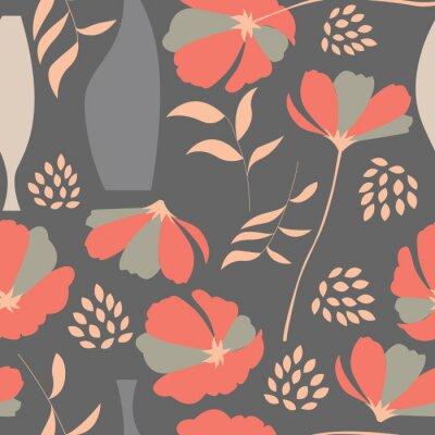 Adesivo Vector padrão sem emenda com elementos florais, flores da primavera, po