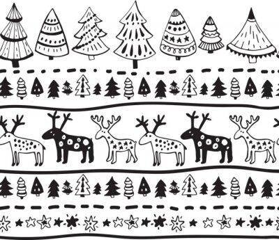 Adesivo Vector padrão sem emenda com os elementos desenhados mão do Natal