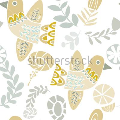 Adesivo Vector pássaros folclóricos pasteis e floresce o padrão padrão sem emenda em um fundo branco. Ideal para artesanato, tecidos, papel de embrulho, papel de parede