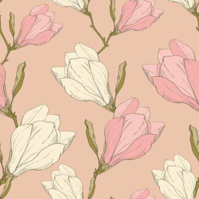 Adesivo Vector Rosa Magnólia Vintage Flores Tecido Retro Repetir Seamless Pattern Hand Drawn In Botanical Style. Perfeito para a tela, Papel de Parede, Empacotar, Plano de Fundo, Cartões.