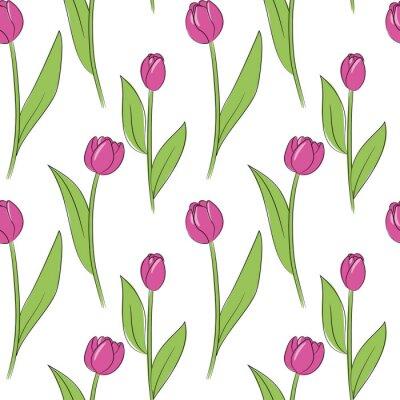 Adesivo vector rosa simples tulipa flores padrão sem costura