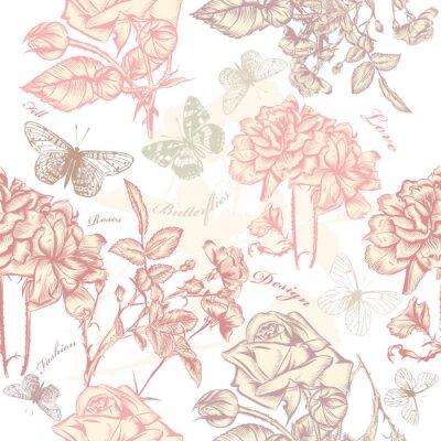 Adesivo Vector seamless wallpaper padrão com rosas