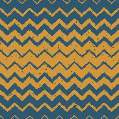 Adesivo Vector Sem costura Azul Amarelo Cor Desenhada Horizontal Gradiente Halftone ZigZag Distorcidas Linhas Grungy Padrão étnico