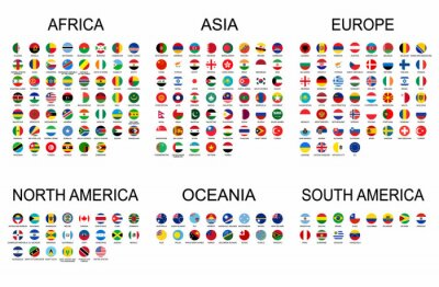 Adesivo Vector set official national flags of the world. Country round shape flags collection with detailed emblems.
