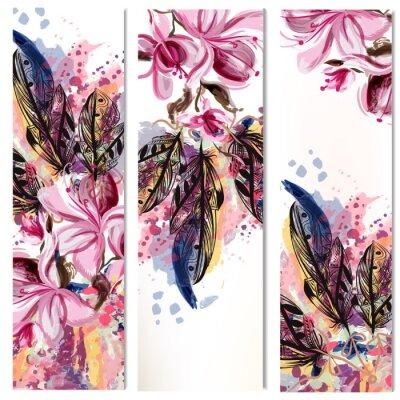 Adesivo Vector verticais folhetos conjunto com magnólia flores e penas