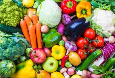 Adesivo Vegetables and fruits background.