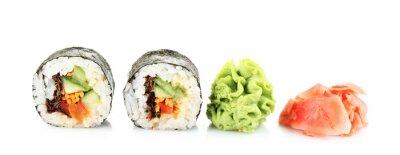 Adesivo Vegetarian sushi rolls isolated on white