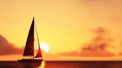 Adesivo veleiro e pôr do sol