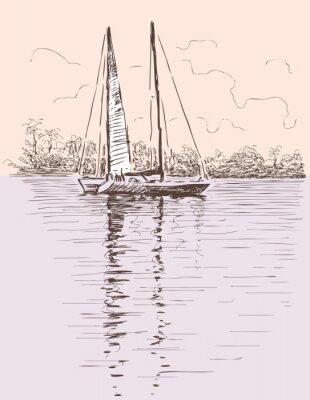 Adesivo Velejando, bote, costa