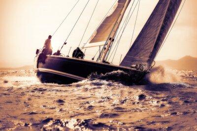 Adesivo velejar barco à vela no por do sol