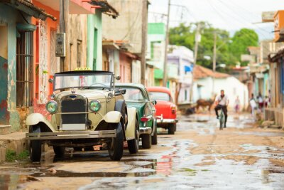 Adesivo Velho, conversível, car, rua, Trinidad, cuba