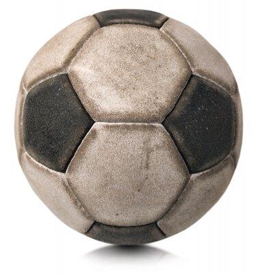 Adesivo Velho futebol bola isolado no branco / detalhe de um velho preto e branco bola de futebol isolado no fundo branco