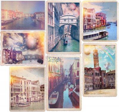 Adesivo Veneza - antiquados cartões postais Colagem