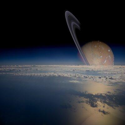Adesivo Ver a partir de um satélite em órbita em torno de um planeta dos anéis.