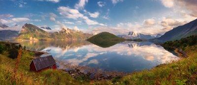 Adesivo Verão, pôr do sol, panorama, lofoten, ilhas, noruega