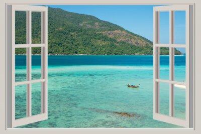 Adesivo Verão, Viagem, Férias e Holiday conceito - A janela aberta,