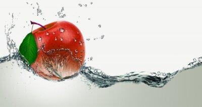 Adesivo Vermelho, Maçã suculenta em um spray de água.