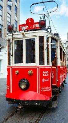 Adesivo Vermelho, retro, bonde, Taksim, Istiklal, rua