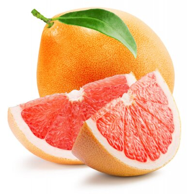 Adesivo Vermelho, toranja, fatia, isolado, branca, fundo