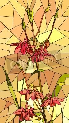 Adesivo Vertical vetor do mosaico com grandes pilhas de flores aquilégias no amarelo.