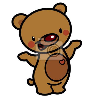 vetor bonito dos desenhos animados urso lindo bebê feliz marrom