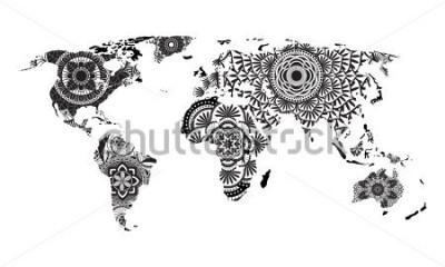 Adesivo Vetor de mapa do mundo da mandala