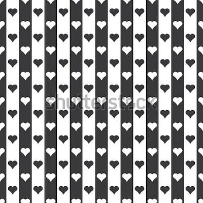Adesivo Vetor de padrão de corações e listras sem costura preto e branco